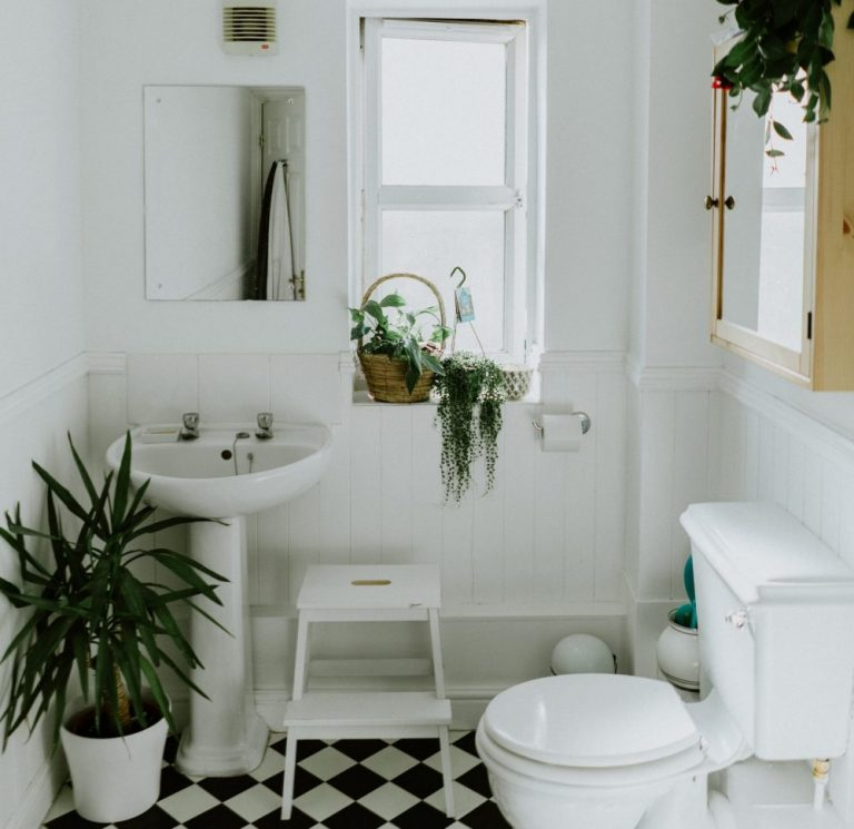 Squeaky clean white bathroom with decorative plants and black and white tiled floor.
