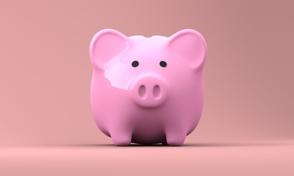 Pink piggy bank on pink background. Illustrates a cleaner from Thomson Cleaning Ltd is affordable.