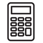 calculator vector simplified icon black and whie on white background