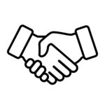 Handshake icon black and white simplified demonstrating agreement between customer and company providing services