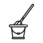 Bucket with mop inside icon illustrative black and white outline
