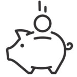 piggy bank simplified black and white vector demonstrating money exchange how payment works