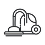 vacuum cleaner simplified black and white icon vector on white background
